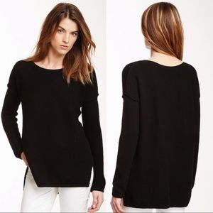 VINCE Black Ribbed Knit Cashmere Pullover Sweater